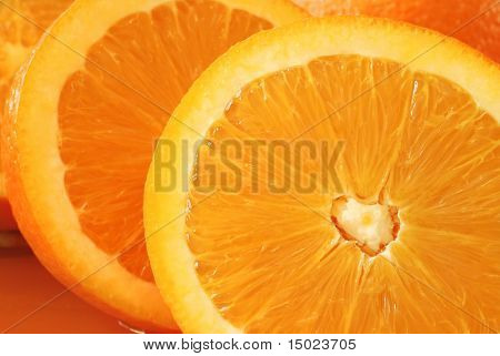 Closeup of freshly sliced orange with heart shaped center
