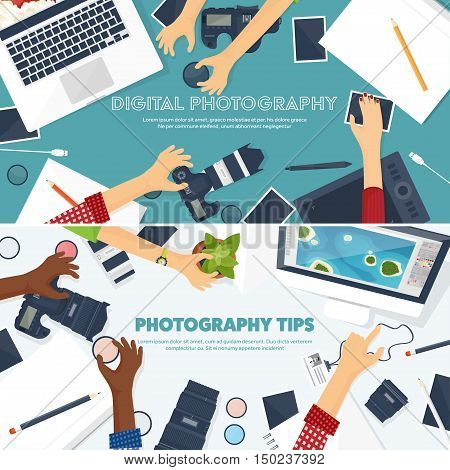 Photographer equipment on a table. Photography tools, photo editing, photoshooting flat background. Digital photocamera with lens. Vector illustration