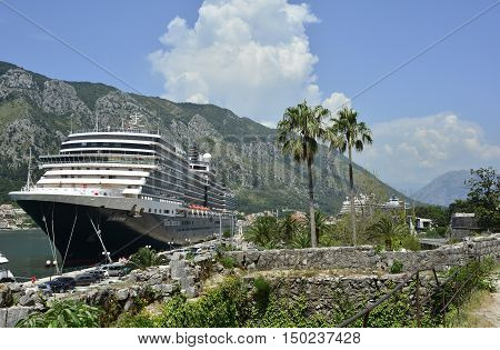 Kotor, Montenegro - June 26th 2016. A large cruise ship docks at Kotor old town at the start of the tourist season