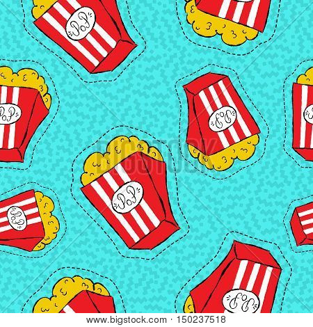 Hand Drawn Popcorn Bucket Patch Icon Pattern