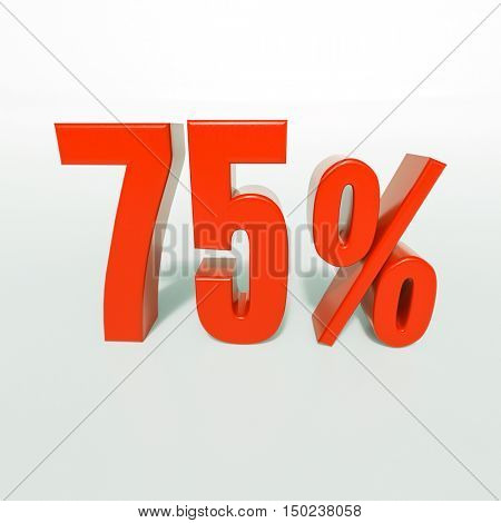 3d render: 75 percent, percentage discount sign on white, 75%