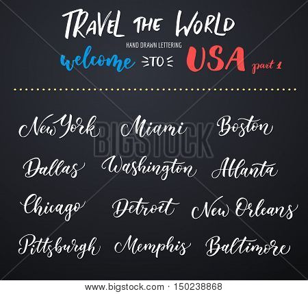 American city vector lettering. Typography USA - New York Miami Boston Dallas Washington Atlanta Chicago Detroit New Orleans Pittsburgh Memphis Baltimore on dark background