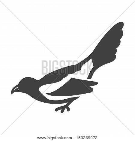 magpie black simple icon on white background for web design