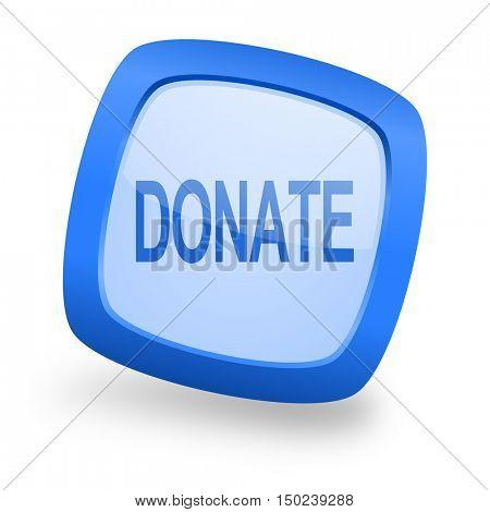 donate blue glossy web design icon