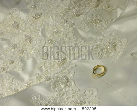 Bridal Gown Details And Wedding Ring