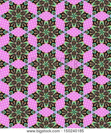 Seamless geometric patchwork pattern. Bright vector illustration of quilt.