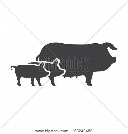 pigs black simple icon on white background for web design