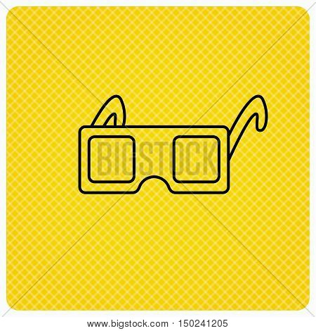 3D glasses icon. Cinema technology sign. Vision effect symbol. Linear icon on orange background. Vector