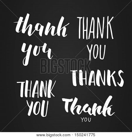 Thank You handwritten inscription set. Hand drawn lettering. Thank You Thanks modern calligraphy card. Vector illustration.
