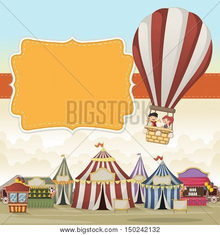 Cartoon kids inside a hot air balloon flying over cartoon circus. Vintage carnival background.