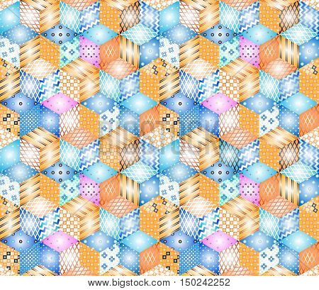 Bright seamless patchwork pattern. Colorful quilting design.