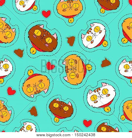 Cute Cat Hand Drawn Patch Icon Background