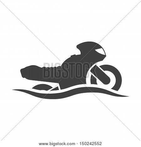 Motorcycle wave black simple icon on white background for web design