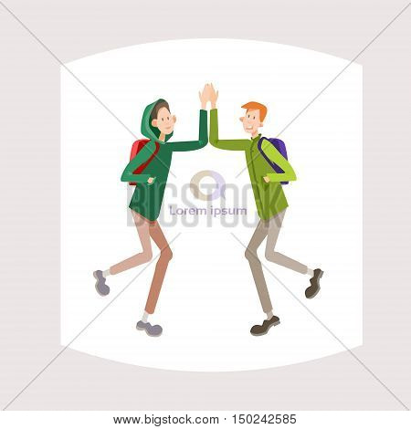 Young People Student Meeting, Teenagers Greeting Communication Flat Vector Illustration