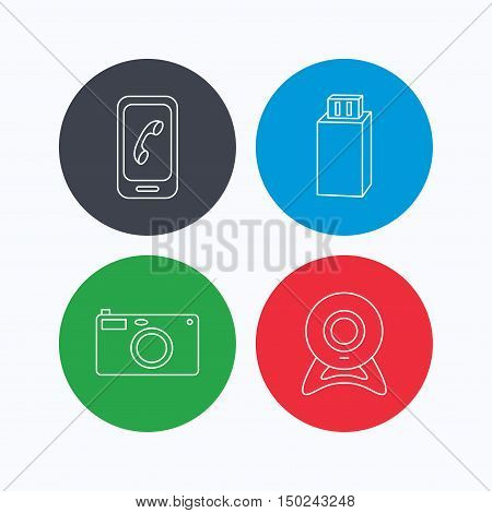 Photo camera, mobile phone and Usb flash icons. Web camera linear sign. Linear icons on colored buttons. Flat web symbols. Vector