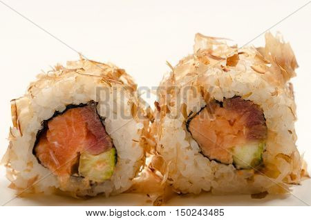 delicious rolls close up isolated on table