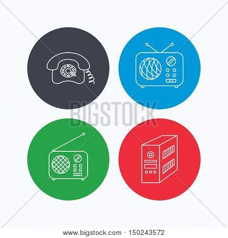 Radio, retro phone and pc case icons. Vintage radio linear sign. Linear icons on colored buttons. Flat web symbols. Vector
