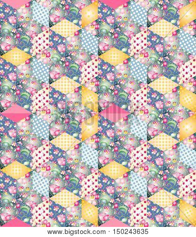 Bright endless patchwork pattern. Seamless quilting design.