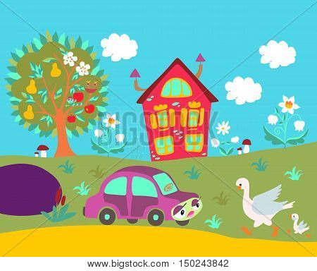 Cute cartoon illustration with country house tree flowers car and birds. Spring or summer season.