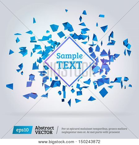 Abstract 3d pyramids. 3d explosion. Abstract mesh explosion. Template or background design for posters or banners