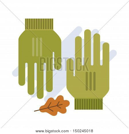 green gloves flat vector illustration. gloves isolated on white. Spring gloves fashion accessory.