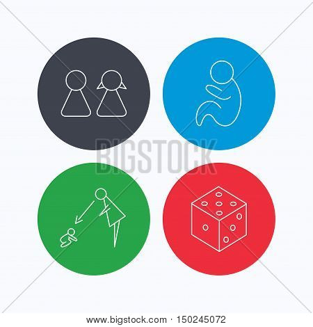 Couple, paediatrics and dice icons. Under supervision linear sign. Linear icons on colored buttons. Flat web symbols. Vector