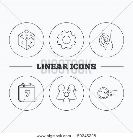 Pregnancy, family and family planning icons. Dice linear sign. Flat cogwheel and calendar symbols. Linear icons in circle buttons. Vector