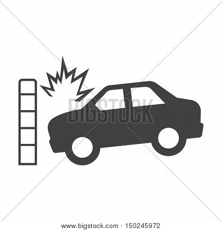 car crash wall black simple icon on white background for web design