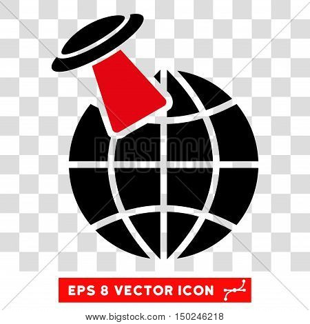Vector Alien Visit EPS vector icon. Illustration style is flat iconic bicolor intensive red and black symbol on a transparent background.