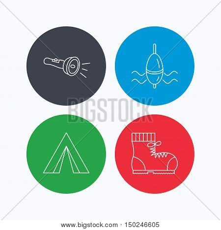 Flashlight, fishing float and hiking boots. Camping tent linear sign. Linear icons on colored buttons. Flat web symbols. Vector