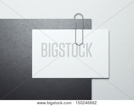 Paper sheet with business card and metal clip on white floor. 3d rendering