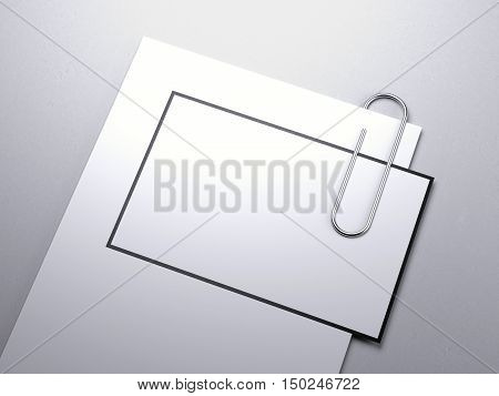Paper Sheet With Business Card And Clip. 3D Rendering