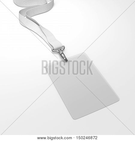 Blank Transparent Badge With Neckband. 3D Rendering