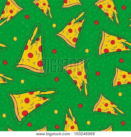 Retro Hand Drawn Stitch Patch Pizza Background