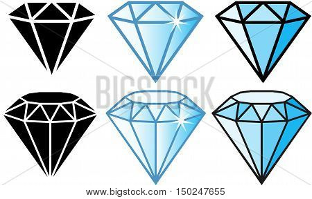 Set of bright shiny gemstone jewelry diamond on white background. Diamond sapphire ruby emerald vector illustration.