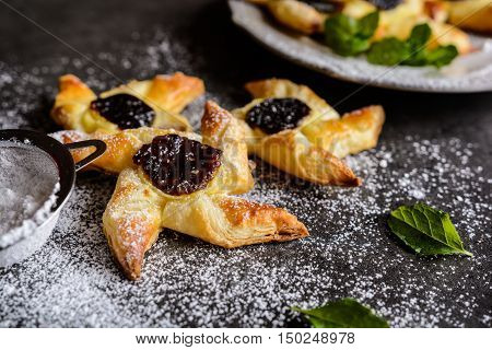 Danish Pastry With Pudding And Plum Jam