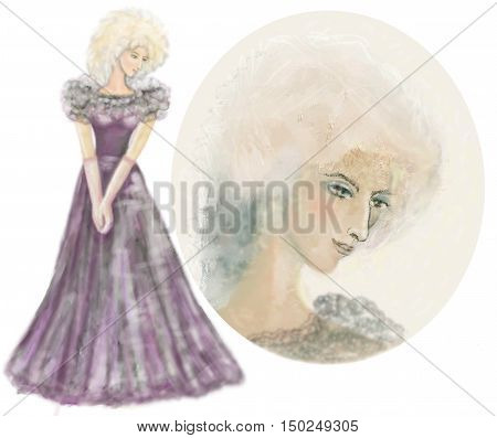 Lady in evening dress.Woman in full-length evening gown and long gloves. Horizontal raster illustration on white background.