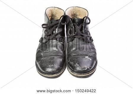 Winter men's shoes with a protruding salt