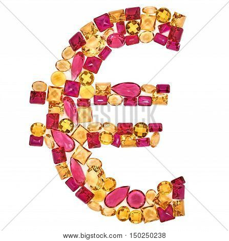 Euro Sign. European Union currency. Rich Finance concept. Fashion Design Gemstone. Fashion luxury glamor colorful placer. Success Lucky. Euro Money decoration. Creative Art sign