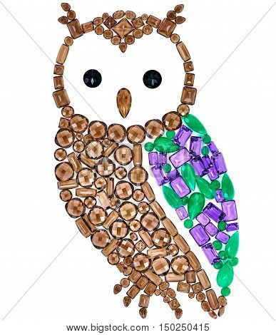 Owl Fashion Design. Feng Shui Owl Symbol Wisdom Wealth. Fashion Luxury Glamor Stylish colorful Owl. Creative Art Jewelry Decoration. Shiny Mosaic Precious placer. Rich Finance Knowledge Concept