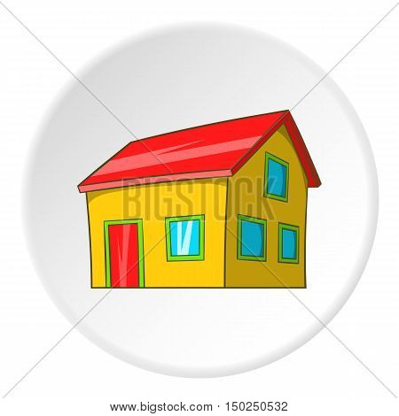 House with attic icon in cartoon style isolated on white circle background. Building symbol vector illustration