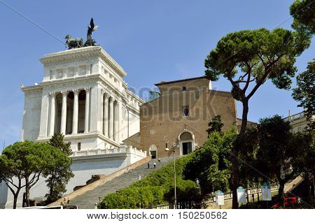 Rome Italy - September 11 2016 : The Altar of the Fatherland in Rome