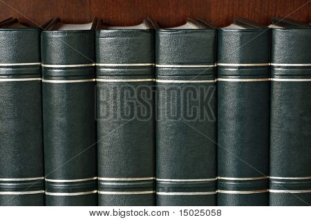 Row of classic leather bound books with titles removed.  Ideal as background image or customize with your text and titles.