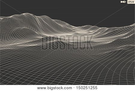 3D Wireframe Terrain Wide Angle EPS10 illustation