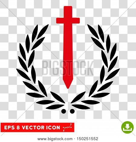 Vector Sword Honor Embleme EPS vector pictogram. Illustration style is flat iconic bicolor intensive red and black symbol on a transparent background.