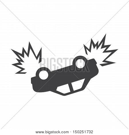 car crash black simple icon on white background for web design