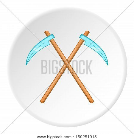 Death scythe icon in cartoon style isolated on white circle background. Scary symbol vector illustration