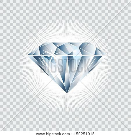 Diamond realistic vector illustration. Brilliant isolated on checked background