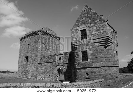 An exterior view of the ruins of Burleigh castle