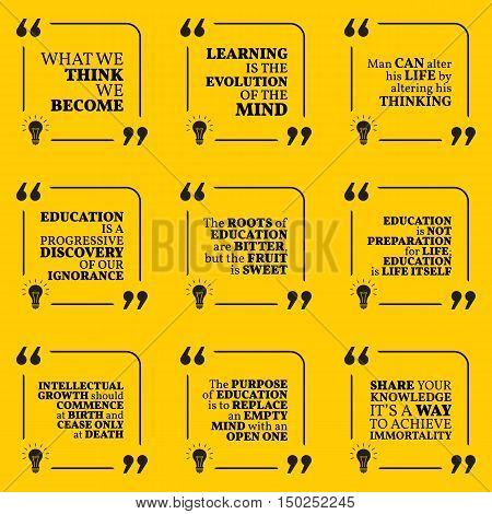 Set Of Motivational Quotes About Wisdom, Intelligence, Thinking, Learning, Education And Personal De